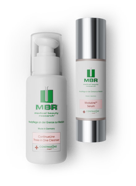 product arrangement of three in one cleanser and mudukine serum - continue line collection